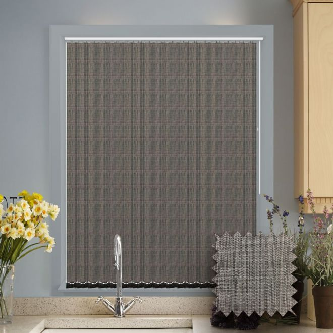 Made to Measure Vertical Blinds in Oslo Graphite fabric Premium Colour Grey - Just Blinds